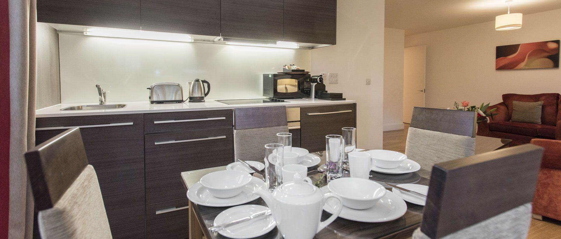 Dining area set up breakfast at PREMIER SUITES PLUS Bristol Cabot Circus