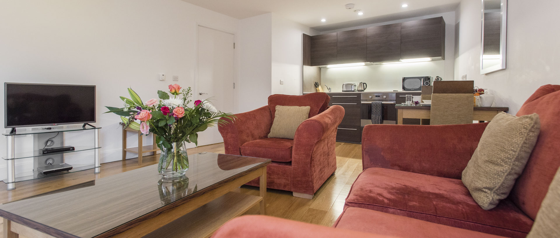 Light filled living space in a one bed apartment in PREMIER SUITES PLUS Cabot Circus